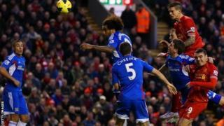 Daniel Agger scores for Liverpool