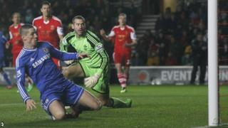 Fernando Torres scores the opening goal against Southampton
