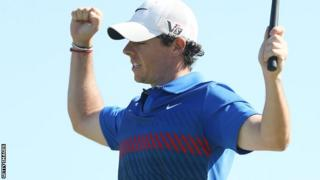Rory McIlroy celebrates winning the Australian Open