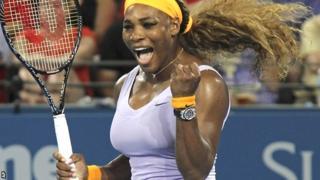 Serena Williams celebrates her Brisbane victory