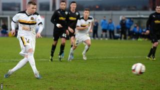 Bryan Prunty scores for a penalty against Greenock Morton