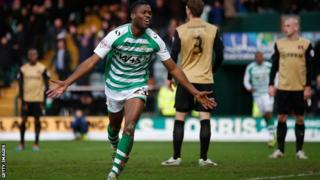 Yeovil's Joel Grant celebrates scoring in the FA Cup tie with Leyton Orient