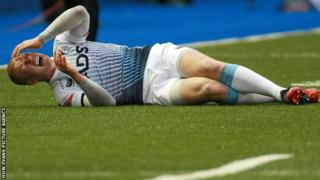 Rhys Patchell injured his knee playing for Cardiff Blues against Newport Gwent Dragons