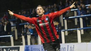 Gary McDonald celebrates a goal for St Johnstone at Cappielow
