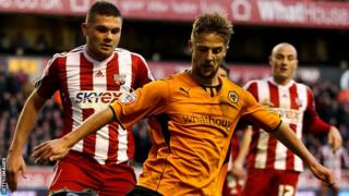 Michael Jacobs in action for Wolves against Brentford