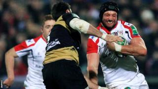 Dan Tuohy attempts to get past Johnnie Beattie at Ravenhill
