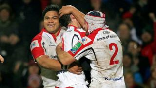 Ulster forwards Nick Williams and Rory Best congratulate try-scorer Ruan Piennar