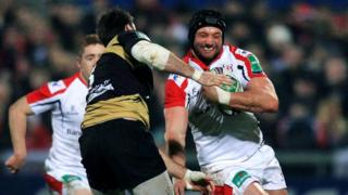 Scot Johnnie Beattie tackles Ulster second row Dan Tuohy at Ravenhill