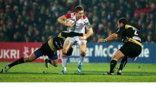 Enzo Selponi and Charles Geli in action against Ulster's Paddy Jackson at Ravenhill