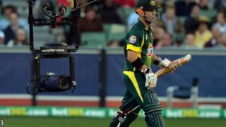 Australia batsman David Warner returns to the crease against England at Melbourne
