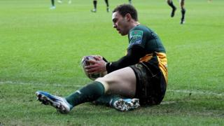Saints wing George North scores their opening try in the 29-17 win against Ospreys at Liberty Stadium
