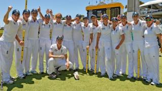 England team celebrate Perth win