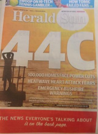 Melbourne Sun front page
