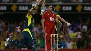 Australia celebrate their dramatic one-wicket win against England at Brisbane