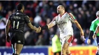 Leicester wing Vereniki Goneva shakes hands with Ulster skipper Rory Best after the match