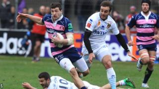 Jonny May races clear to score a spectacular try for Gloucester