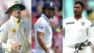 Michael Clarke, Alistair Cook and MS Dhoni
