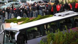 Nocerina Ultras surround the team bus at 'derby of hate' game