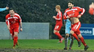 Sean Mackle celebrates his goal against Ballymena