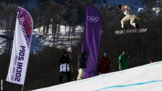 Shaun White takes off during training for the Winter Games in Sochi