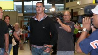 Kevin Pietersen arriving at Heathrow after resigning as England captain