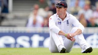 Kevin Pietersen sits on the pitch during the third day of the first Test against South Africa at the Oval in July 2012