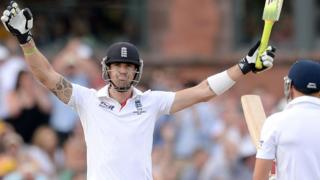 Kevin Pietersen celebrates a century during the third Ashes Test at Old Trafford in August 2013