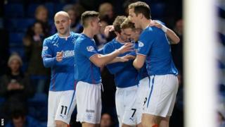 Rangers players celebrating