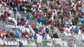 Spectators at the women's snowboard slopestyle event at Sochi 2014