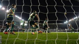 John Eustace scores a header for Derby