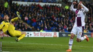 Aston Villa's Andreas Weimann holds his head as David Mrshall pulls off a great save in the last minute of their 0-0 draw in the Premier League