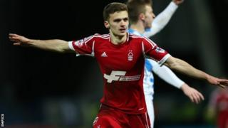 Nottingham Forest's Jamie Paterson celebrates scoring their second goal of the game