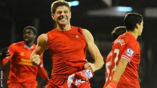 Liverpool captain Steven Gerrard celebrates his winner against Fulham