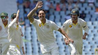 Australia bowler Mitchell Johnson celebrates taking a wicket against South Africa