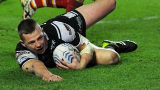 Richard Horne of Hull FC scores a second half try