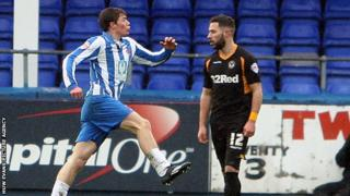 Luke James celebrates after scproring Hartlepoool's opener