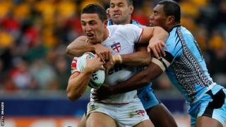 Sam Burgess in action for England