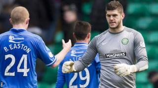 Fraser Forster is congratulated by St Johnstone players