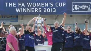 Arsenal celebrate winning the FA Women's Cup