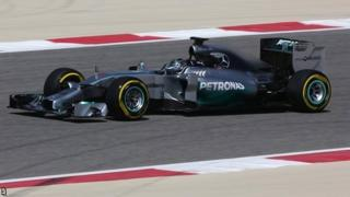 Nico Rosberg in the Mercedes during testing in Bahrain