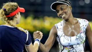 Alize Cornet and Venus Williams