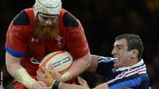 Jake Ball in action for Wales against France