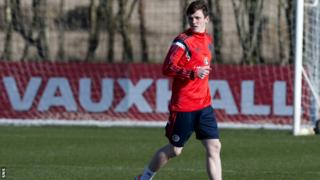 Dundee United defender Andrew Robertson on Scotland duty