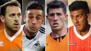 Blackpool striker Michael Chopra (left), Swansea left-back Neil Taylor (second left), Wolves centre-back Danny Batth (second right) and Walsall left-back Malvind Benning (right)