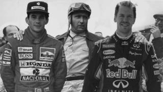Ayrton Senna, Juan Manuel Fangio and Sebastian Vettel