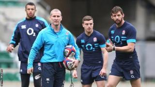 England coach Stuart Lancaster leads a training session at Twickenham