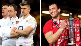 A disconsolate Owen Farrell and delighted Sam Warburton after Wales' win in 2013