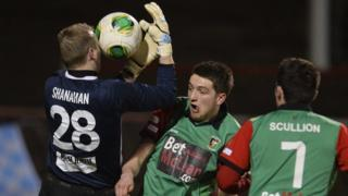 Match Action from Glentoran against Ballymena at The Oval