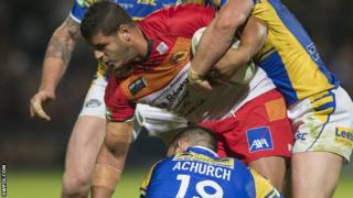 Jamal Fakir is halted by Mitch Achurch & Kevin Sinfield