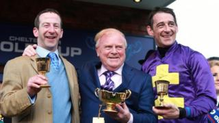 Jockey Davy Russell (right) celebrates with trainer Jim Culloty (left) and owner Ronan Lambe